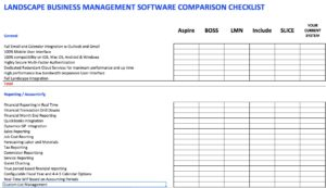 Landscape Business Management Software Comparison Checklist